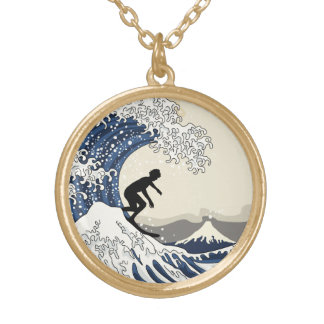 The Great Surfer of Kanagawa Gold Plated Necklace