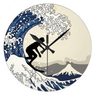 The Great Surfer of Kanagawa Large Clock