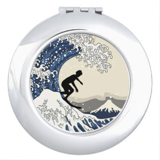 The Great Surfer of Kanagawa Mirror For Makeup