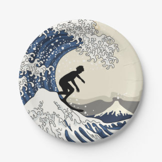 The Great Surfer of Kanagawa Paper Plate