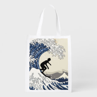 The Great Surfer of Kanagawa Reusable Grocery Bags