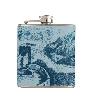 The Great Wall in Blue Hip Flask