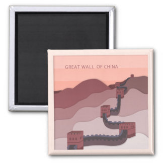 The Great Wall of China illustration Square Magnet