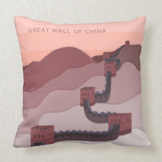 The Great Wall of China illustration Throw Pillow