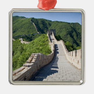 The Great Wall of China in Beijing, China Silver-Colored Square Ornament