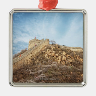 The great wall of China outside Beijing Silver-Colored Square Ornament