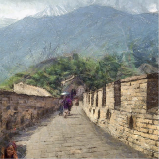 The Great Wall of China Photo Sculpture Button
