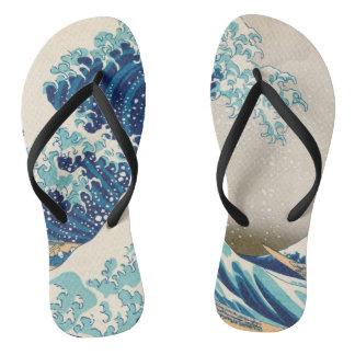 The Great Wave at Kanagawa flip flops