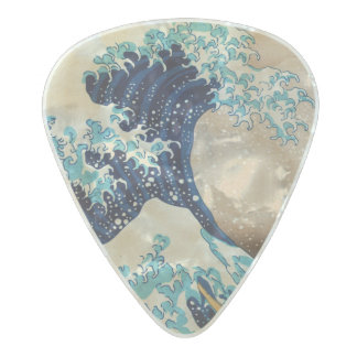 The Great Wave by Hokusai Pearl Celluloid Guitar Pick