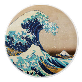The Great Wave by Hokusai Vintage Japanese Ceramic Knob