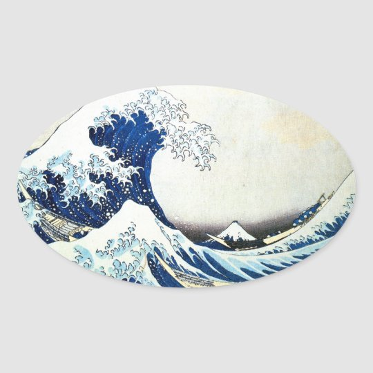 """The Great Wave"" Japanese Painting by Hokusai Oval Sticker"