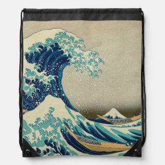 The Great Wave off Kanagawa Drawstring Bag