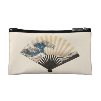 The Great Wave off Kanagawa Fan Cosmetic Bags