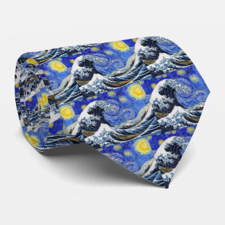 """The Great Wave OFF Kanagawa"" + ""Starry night"" Tie"