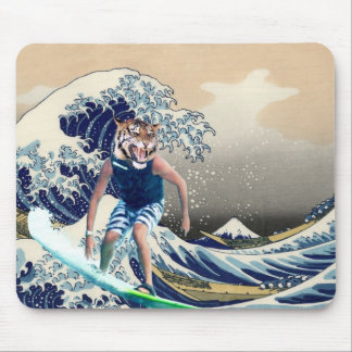 The Great Wave off Kanagawa Tiger Surfer Mouse Pad