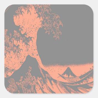 The Great Wave Peach & Gray Square Sticker