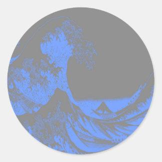 The Great Wave Seafoam Blue & Gray Classic Round Sticker