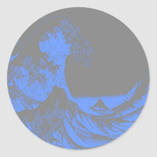 The Great Wave Seafoam Blue & Gray Round Sticker