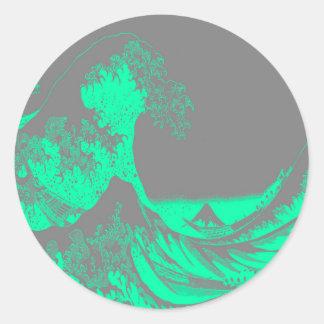 The Great Wave Seafoam Green & Gray Round Sticker