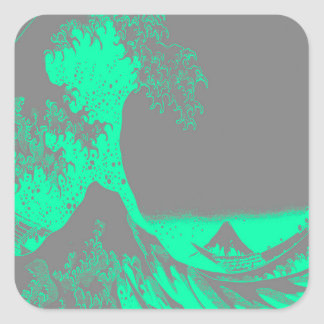 The Great Wave Seafoam Green & Gray Square Sticker