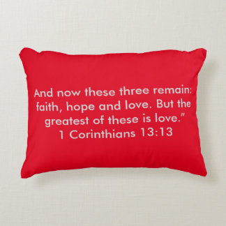 """""""The Greatest is Love"""" Scripture Accent Pillow"""