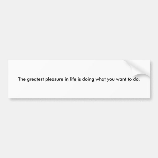 The greatest pleasure bumper sticker