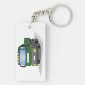 the Green building sites truck Double-Sided Rectangular Acrylic Keychain
