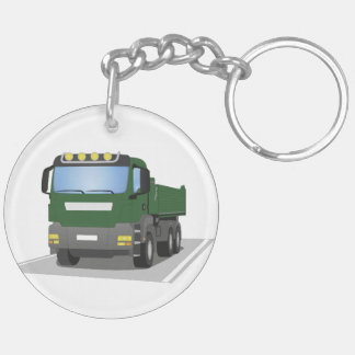 the Green building sites truck Double-Sided Round Acrylic Keychain