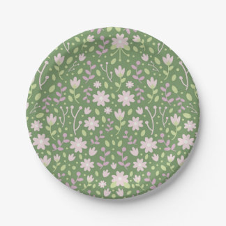 The Green Flowery Spring Fields Paper Plate