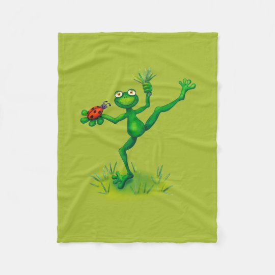 The Green frog with luck beetle Fleece Blanket