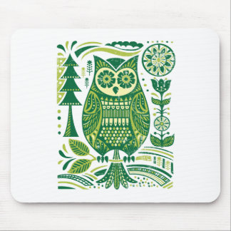 The Green Owl Mouse Pad
