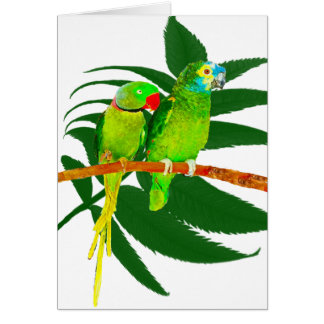 The Green Parrots Gifts Greeting Card