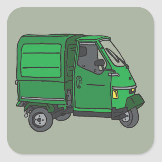 The Green small transporter (tricycle) Square Sticker