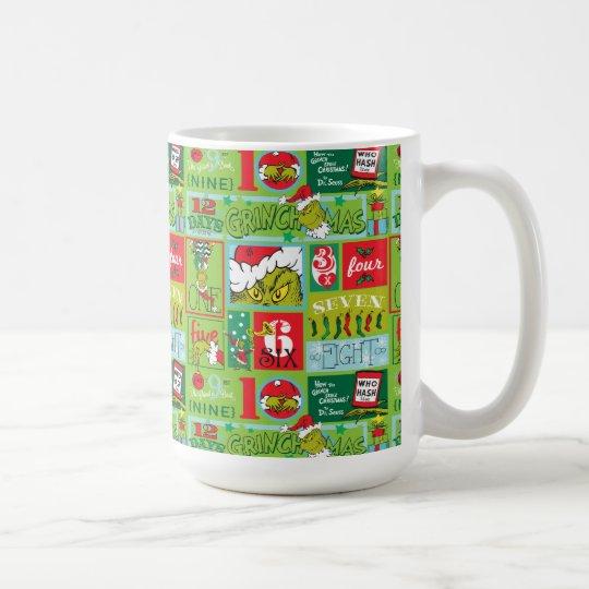 The Grinch   12 Days of Grinchmas Pattern Coffee Mug