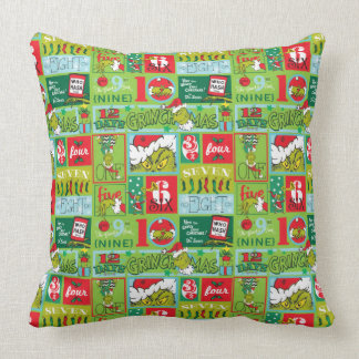 The Grinch | 12 Days of Grinchmas Pattern Throw Pillow