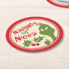 The Grinch   Naughty or Nice Round Paper Coaster