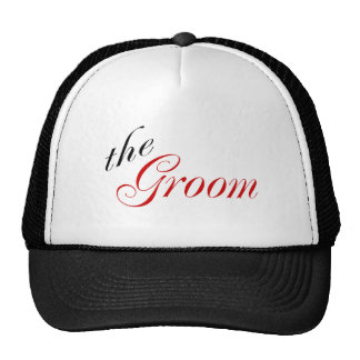 The Groom (Script Red) Mesh Hat