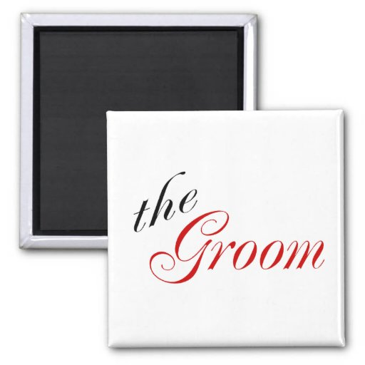 The Groom (Script Red) Refrigerator Magnet