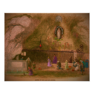 The Grotto of our Lady of Lourdes. 1800s Poster