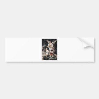 The Guardian Angel and Children, Vintage Painting. Bumper Sticker