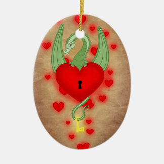 The guardian of the heart ceramic oval ornament