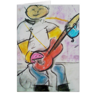 The Guitar Player  Pastel Note Card  By Brad Hines