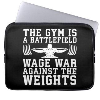 The Gym Is A Battlefield - Workout Motivational Laptop Sleeve