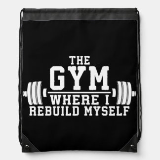 The Gym - Rebuild Myself - Workout Inspirational Drawstring Bag