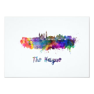 The Hague V2 skyline in watercolor Card