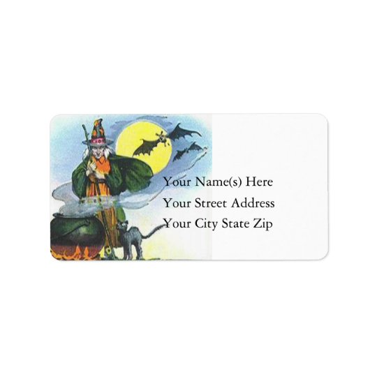 The Halloween Witch Vintage Address Label