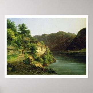 The Hallstatter Lake, 1824 (oil on canvas) Poster