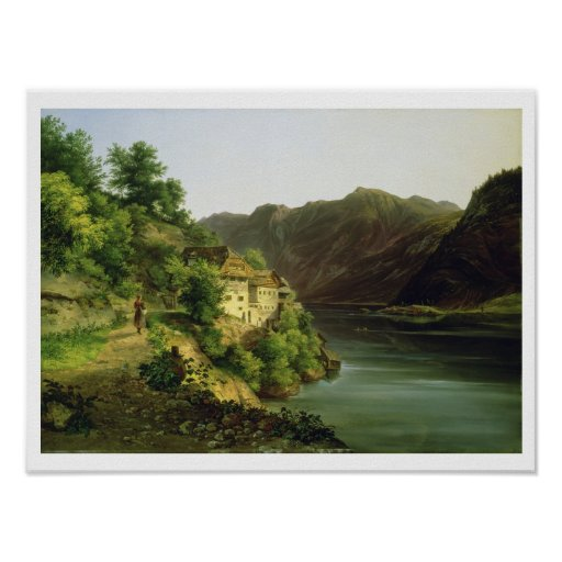 The Hallstatter Lake, 1824 (oil on canvas) Print