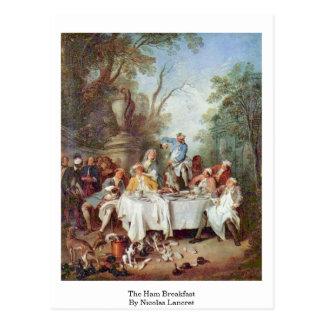 The Ham Breakfast By Nicolas Lancret Postcard