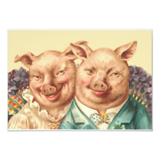 The Handsome Pig Couple Card